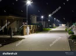 Street Lights In Villages Small Village Street Modern Led Streetlights Stock Photo