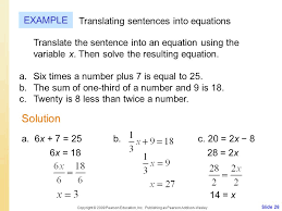 solution example translating sentences into equations introduction to equations ppt