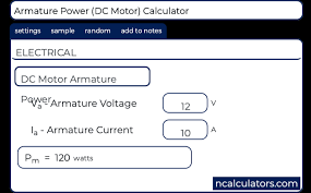 ar power dc motor calculator