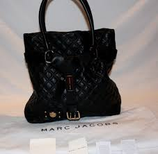 Marc Jacobs Quilted Casey Black Leather Tote Handbag - Luxfiend & Marc Jacobs Bruna Front2 Adamdwight.com