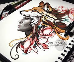 сообщество иллюстраторов иллюстрация лиса эскиз тату Foxy Tattoo