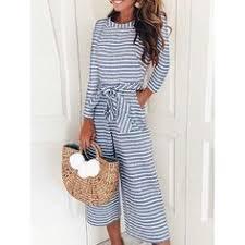 Long sleeve <b>women jumpsuit</b> Autumn 2018 fashion <b>striped printed</b> ...