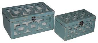2 piece set distressed wooden treasure box with mirror under wood cutout gray b