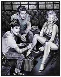 image is loading audrey hepburn tattoo marilyn monroe james dean canvas  on marilyn monroe tattoo wall art with audrey hepburn tattoo marilyn monroe james dean canvas movie poster