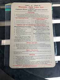 Vintage Minnesota Child Labor Law Handy Chart Prohibited Employment Minors Ebay