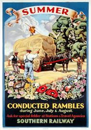 Summer Conducted Rambles SR Vintage Travel poster by Audrey Weber 1936