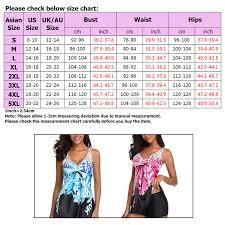 Us Swimsuit Size Chart Details About Us Women Plus Size Swimdress Swimwear Swimsuit Floral Push Up Bra Padded Tankini