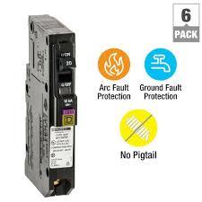 square d homeline 20 amp single pole gfci circuit breaker qo 20 amp single pole plug on neutral dual function cafci and gfci