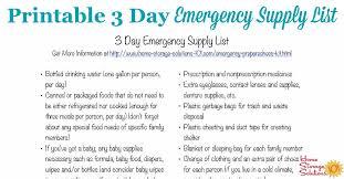 Emergency List Free Printable 3 Day Emergency Supply List