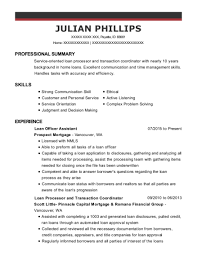 Prospect Mortgage Loan Officer Assistant Resume Sample Payette