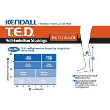 Ted Hose Size Chart Kendall Anti Embolism Ted Compression Stockings Knee Length