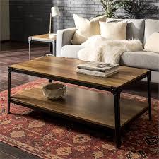 angle iron rustic wood coffee table in