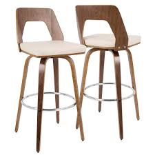 mid century modern bar stools. Lumisource Trilogy Walnut And Cream Mid-Century Modern Barstool Mid Century Bar Stools The Home Depot