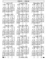 15 Month School Year Calendar 2015 2016 Small