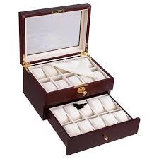 20 cherry ebony wood watch display case w scratch proof glass top jewelry storage