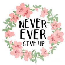 Never Ever Give Up Quote Digital Art by Priscilla Wolfe