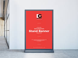 Free poster / banner on steel structure stand mockup psd set. Inside Office Stand Banner Free Mockup Free Mockup