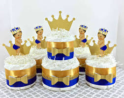 Royal Blue Gold Little Prince Diaper Cake Centerpiece Set Boy Baby
