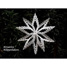 Klöppelstern 2 Weiß Silber Christbaumschmuck Handgeklöppelter Stern Faltstern