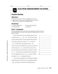 Electron Arrangement In Atoms Worksheet For 10th 12th