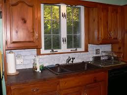 faux stone kitchen backsplash