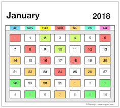 calendar january 2018 template 2018 printable calendar template excel pdf ms word doc