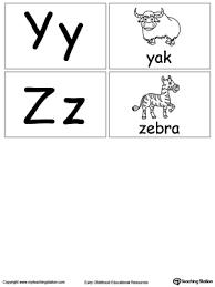 Small Alphabet Flashcards Y Z