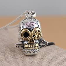 whole pure 925 sterling silver skull pendant vintage 925 solid thai silver skeleton key pendant fit original necklace diy jewelry gift key necklace bar