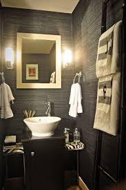 ... Glamorous Bathroom Decorating Ideas Using Glass Chandeliers And  Rectangular Brown Powder Room Basins Also With Rounded Brown Towel Rings  And A Big ...