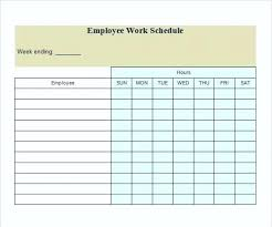 Work Assignment Schedule Template Work On Routine Easy Printable