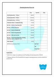 Price List Format 24 Cleaning Price List Templates Free Word PDF Excel Format 3