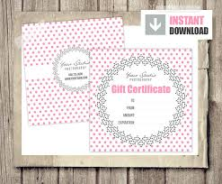 Gift Voucher Template Free Download Extraordinary Gift Card Gift Certificate Template For Photographers Pink Etsy