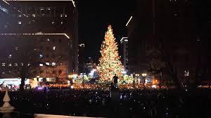 Lighting of Michigan State Christmas tree at Lansing's Silver Bells