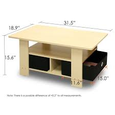 Beech Coffee Table Eco Friendly Coffee Table In Beech With Black Bin Storage Drawers