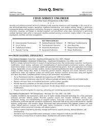 Good Field Service Engineering Resume Template And Best Summary Of Work