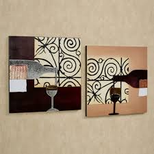 lovable 2 pieces artwork portray as kitchen wall decor hang on soft brown wall painted in modern kitchen decors ideas