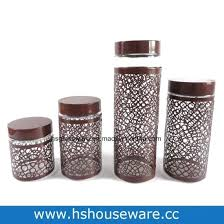 glass jar set stainless steel sheet kitchen glass jar set with metal lid glass jar set