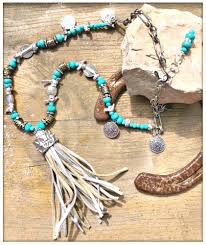 silver bronze leather tassel pendant turquoise rhinestone charm beaded chain long boho necklace