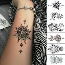 Vodotěsný Dočasné Tetování Nálepka Květinové Kompas Totemu Jelena