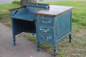 pea blue refinished antique typewriter desk