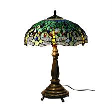 warehouse of tiffany dragonfly 22 in electrical table lamp with glass shade