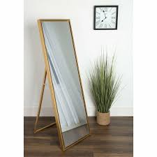 Free Standing Full Length Mirror With Lights Wood Framed Free Standing Floor Mirror Tall Full Length Bedroom Dressing Gold
