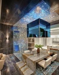 12 catchy blue glass reflection modern ceiling design for every room