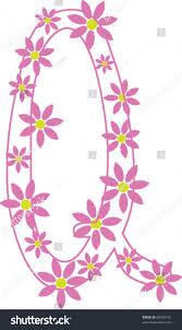 Letter Q from flower alphabet set