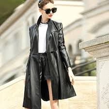 the 2017 fall fashion show thin leather coat las irregular hem jacket jaqueta couro feminina leather coat jaqueta couro feminina hem jacket with