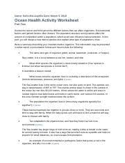 4.03OceanHealth.rtf - Name Sofia McLaughlin Date March 5 2018 Ocean Health  Activity Worksheet Part Two Review the lesson and think about the different  | Course Hero