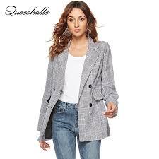 <b>Women</b> Casual Plaid <b>Blazer Jackets</b> 2019 <b>Spring Suit Blazer</b> Gray ...