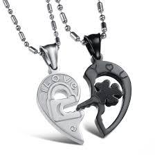 Stainless Steel Love Heart Shape Couples Necklaces Pendants Set  (Black+White)