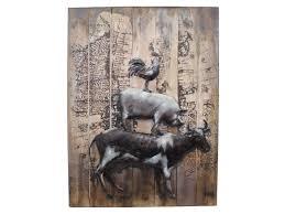 farmyard animals metal wall art cow