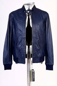 roberto cavalli class blue leather jacket eu46 small rrp 895 coat